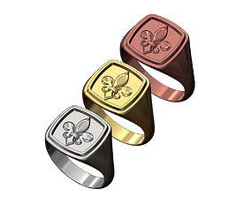 Lis flower square stepped signet ring 3D print model