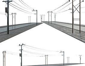 3D model wire Power line