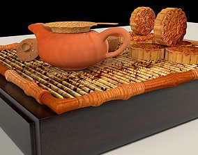 3D Chinese moon cake with tea set