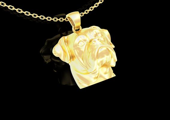 Bulldog Pendant jewelry Gold 3D print model