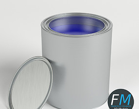 3D Open paint can and lid