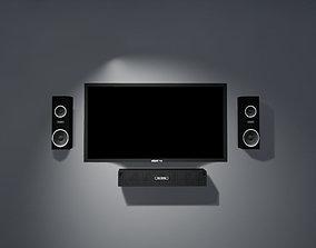3D asset TV and Speaker Set