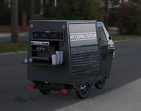 3D Piaggio Ape coffee van