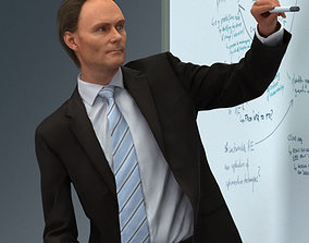 3D Man in suit giving a presentation character