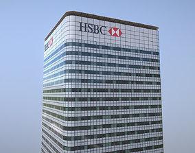 London 8 Canada Square HSBC 3D asset