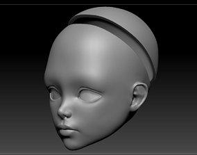 woman 3D model doll head