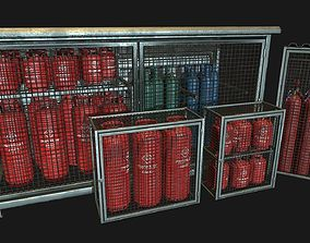 3D model Low Poly PBR Gas Bottle Complete Collection