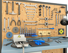 3D model Industrial workbench and garage tools - 1