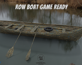 3D model realtime Old Row Boat-Game Ready