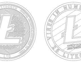 Litecoin LTC Detailed model 2D vector drawing logo