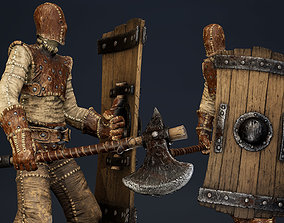 3D model Character with axe and shield