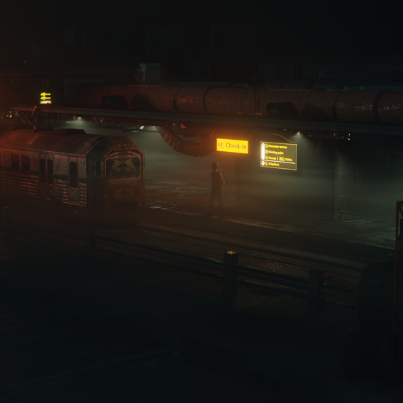 Cyberpunk Train station