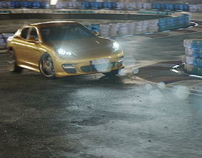 Night Drifting Car Track Vehicle Ride Drift 3D model 1