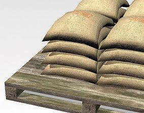 3D asset Bag 02 flour bags on pallets