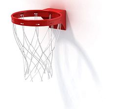Red And White Plastic Basketball Hoop 3D