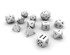 3D asset Polyhedral Dice Set - White