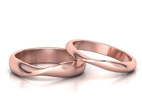 Dshaped Mobius Wedding bands set 3mm-band 3D model