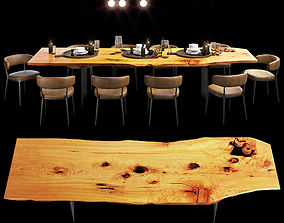 3D Urban hardwoods dining slab table with tableware