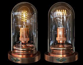 3D Steampunk Glass Case - Edison Lamp