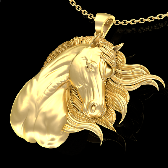 Wind Horse Head Pendant jewelry Gold 3D print model
