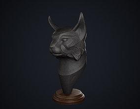 Wooden Lynx Statue Black 3D model