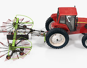 3D Tractor with Used Twin Rotor Rake Claas Liner 2700