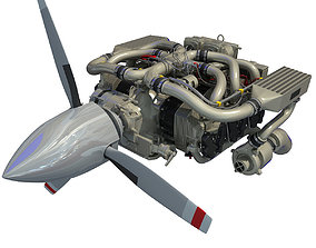 3D Aircraft Engine Of Continental IO-550
