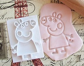 3D printable model Stamp Pig Peppa cookie cutter for