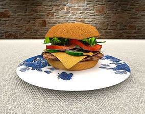 Burger 3D model cheeseburger