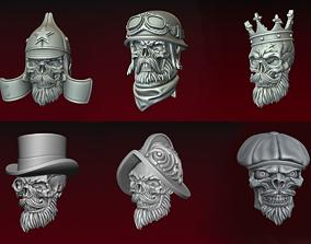 3D Skulls in helmets Bead collection