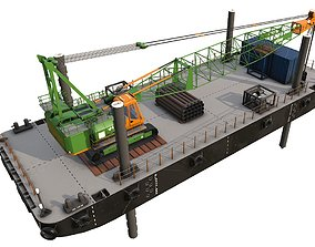 DAMEN STAN pontoon with jack-up and crane 3D model