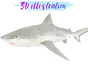 3D asset Low Poly Bull-Shark illustration Animated - Game
