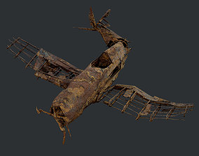 Plane Wreck Damaged Apocalyptic Game Ready 04 3D model