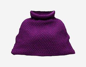 Purple Knit Wool Cape 3D asset