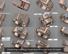 3D 83 Male Rings inclusive of 3 Couple Ring Extreme Light