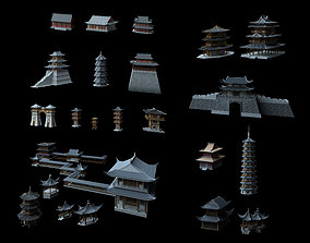 Collection of ancient buildings in Asia 3D model