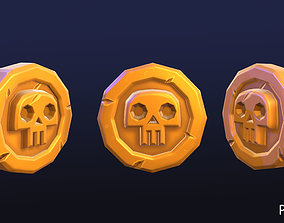 3D model PBR and baked Pirate coin gems