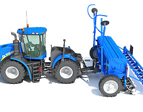 New Holland Tractor with Seed Drill 3D