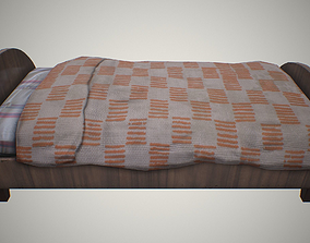 Old bed 3D asset game-ready