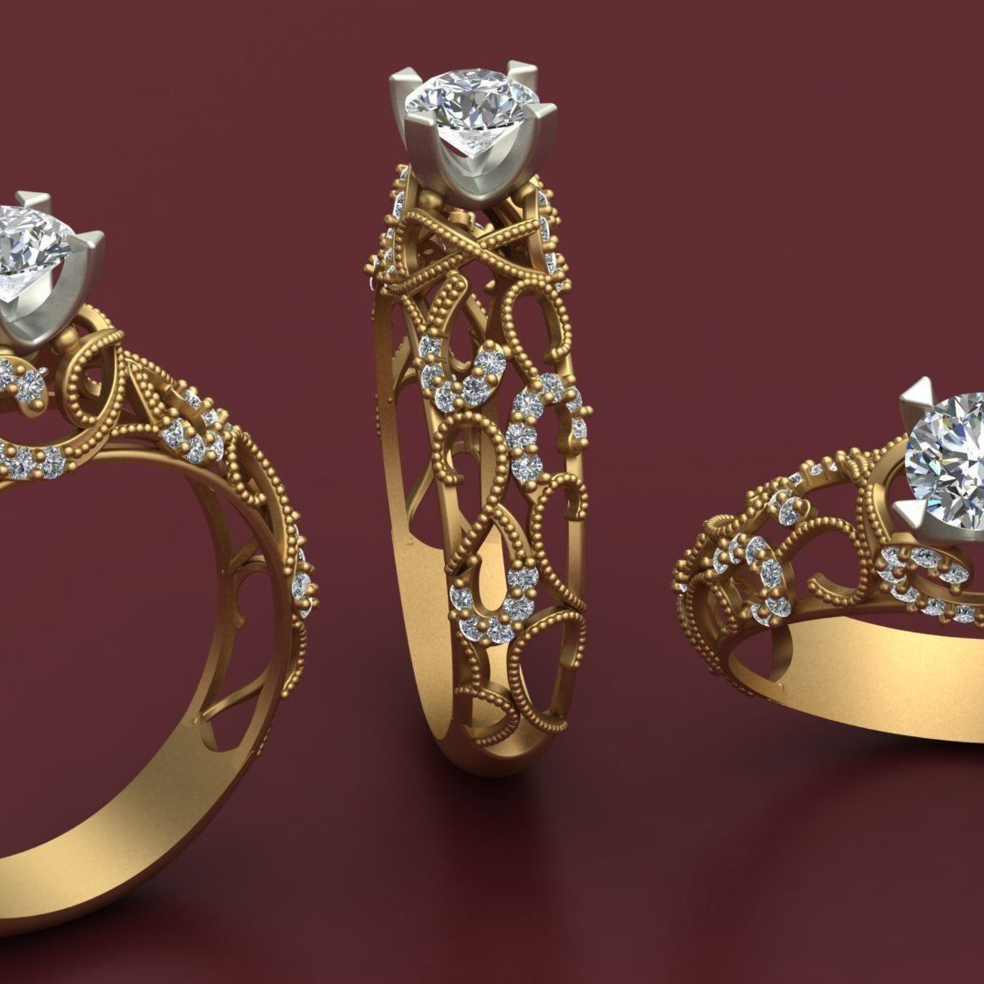 Engagement Ring 3D Model Printable By Nudora 3D