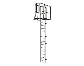 Fire escape stair Black 3D model