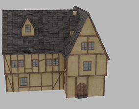 Medieval house 3D model realtime midle