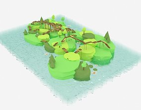 Low Poly Swamp Island with Bridges 3D model