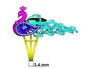 Peacock Ring diamond ring new ring 3D printable model