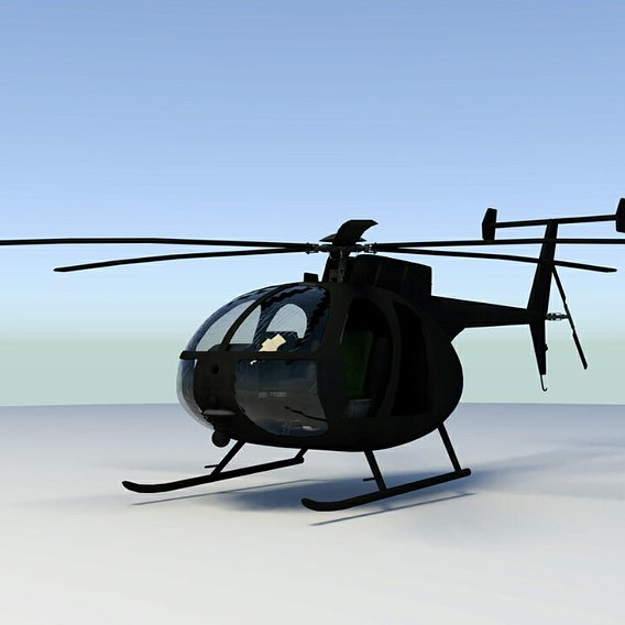 MH-6 Little Bird Low-poly 3D model