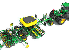 Tractor and Seed Drill 3D