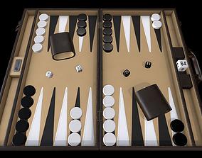 Backgammon board game 3D asset
