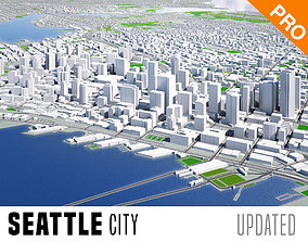 3D model Seattle City And Surroundings Washington Low 2