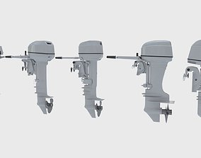 3D Outboards Set of 5 pieces outboard