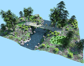 3D asset low poly bridge scene